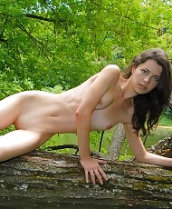 Horny girl in nature