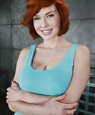 Redhead big tits slut