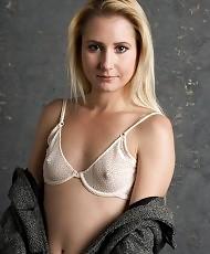 Horny blonde chick stripping