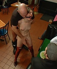 Blindfolded babe in a diner