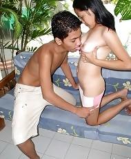 Couple having sex on a terrace