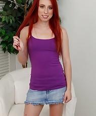 Petite natural redhead posing
