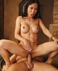 MILF plays with a white boner
