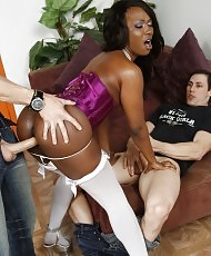 Ebony beauty loves white rods