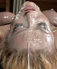 Horny slut gets a cum shower